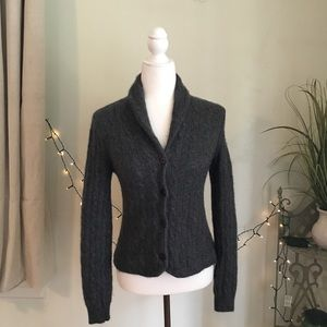 100% Cashmere Charcoal Gray Cable Knit Cardigan